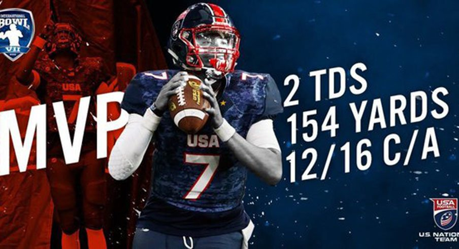 Ohio State pledge Dwayne Haskins was named MVP of the International Bowl after leading Team USA to a 33-0 win over Canada