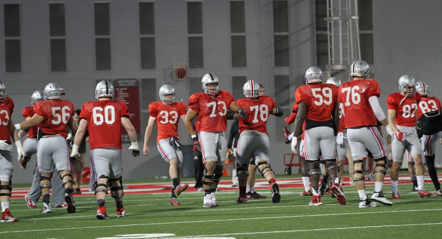Urban Meyer shared his thoughts on his young offensive line Tuesday after practice.