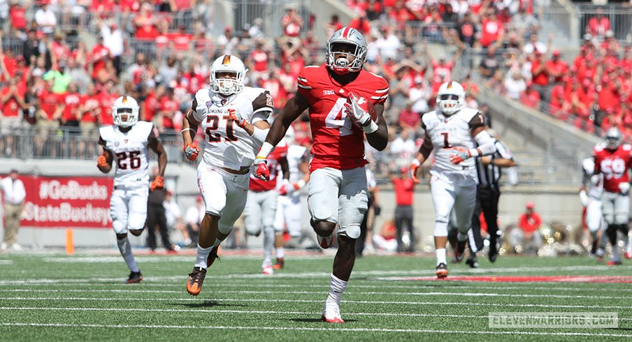Ohio State's Curtis Samuel sprints for a first-half touchdown against Bowling Green.