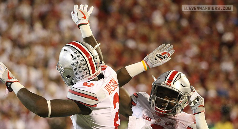 Ohio State's Dontre Wilson, Curtis Samuel celebrate a touchdown.
