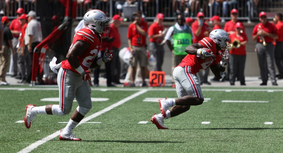 Ohio State's Mike Weber and Curtis Samuel.
