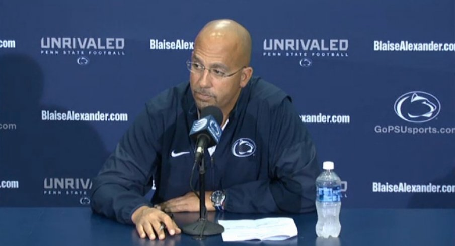 James Franklin meets with assembled media.