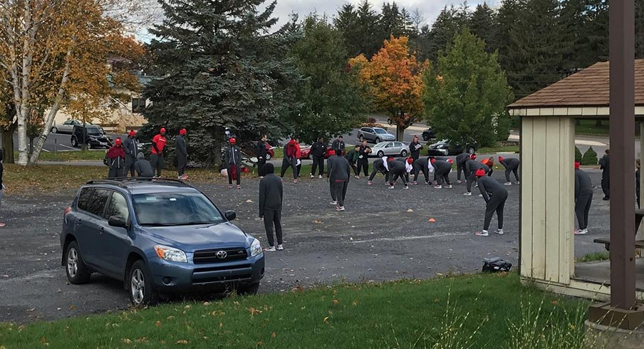 Ohio State conducting its morning walkthrough at the State College Ramada.