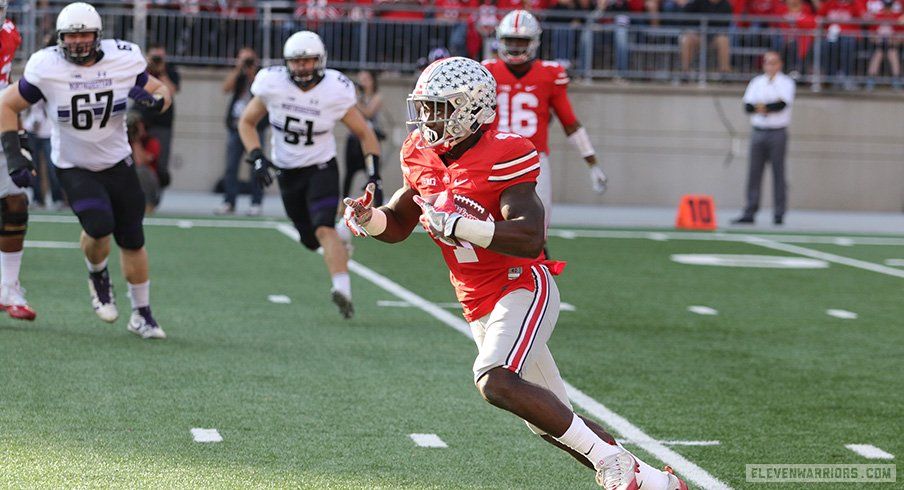 Curtis Samuel carries the ball against Northwestern.