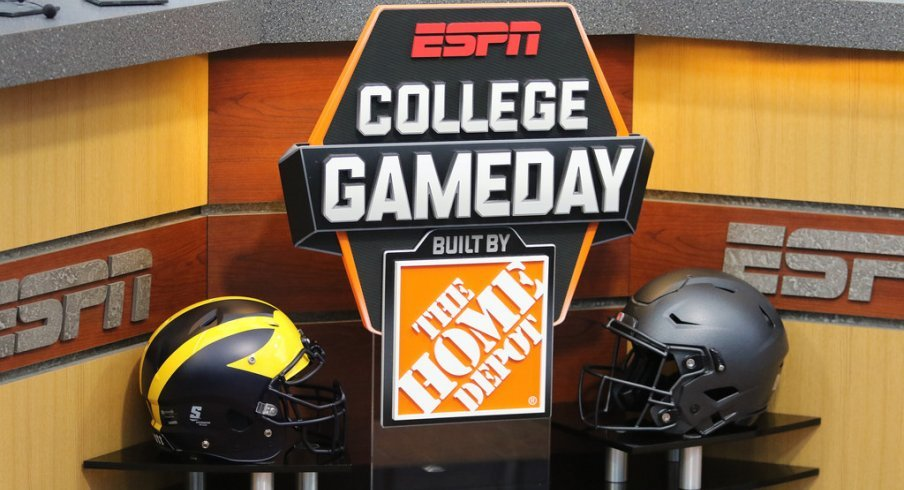 Michigan, Ohio State helmets on the College GameDay set.