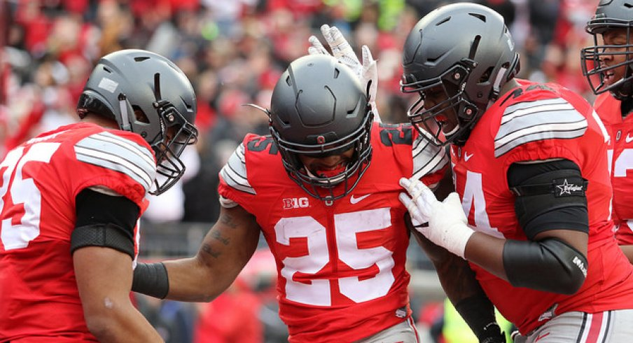 Ohio State's Mike Weber celebrating a big play against Michigan.