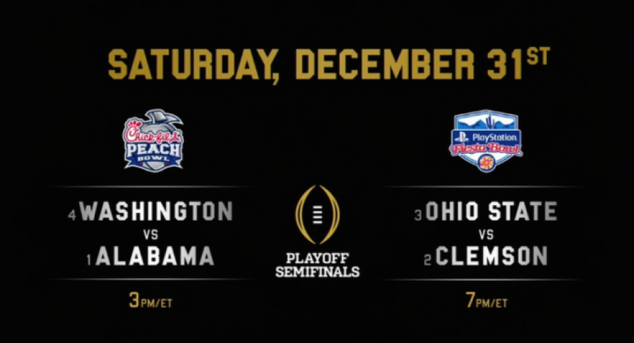 The College Football Playoff matchups.
