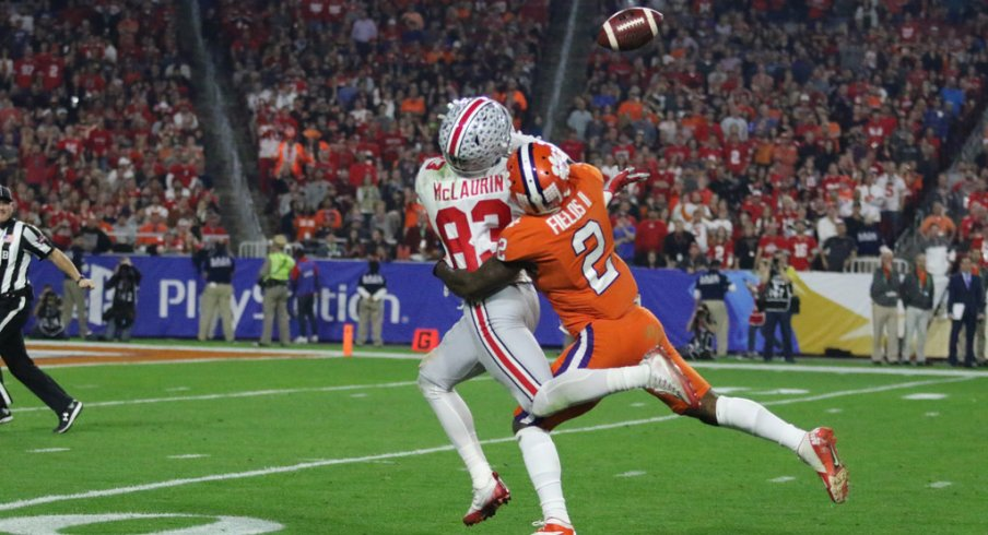 Ohio State WR Terry McLaurin tries to haul in a deep pass.
