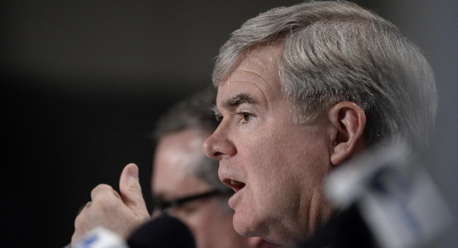 NCAA head Mark Emmert speaks at a conference.