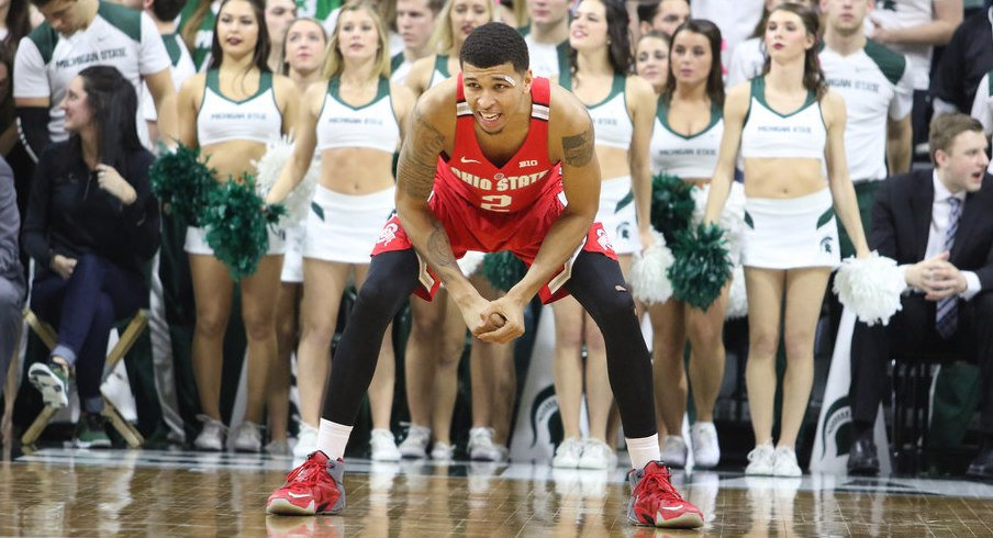Ohio State's Marc Loving in a defensive stance at Michigan State.