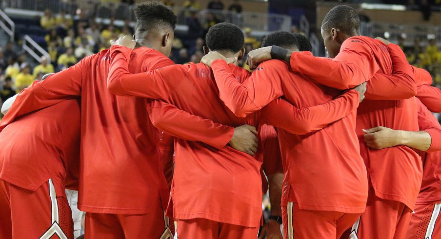 Ohio State huddles to a game at Michigan earlier this season.