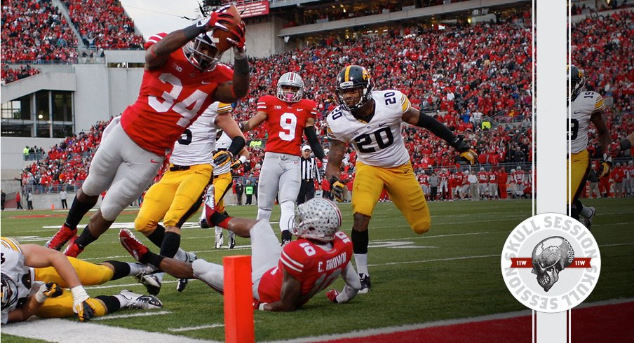 Carlos Hyde dives for the python against Iowa for the March 17th 2018 Skull Session.