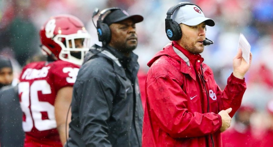 Dec 3, 2016; Norman, OK, USA; Oklahoma Sooners offensive coordinator Lincoln Riley (right) during the game against the Oklahoma State Cowboys at Gaylord Family - Oklahoma Memorial Stadium. Mandatory Credit: Kevin Jairaj-USA TODAY Sports