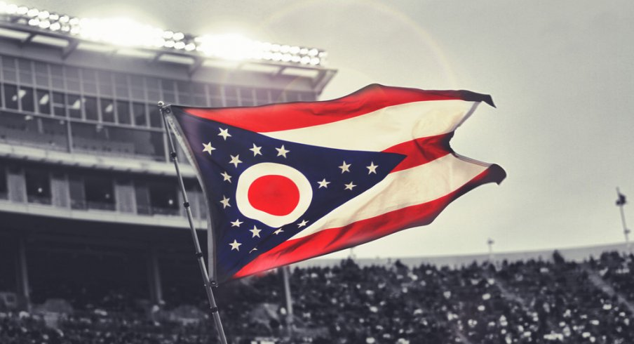 The Ohio state flag flown during the Western Michigan game in 2015.
