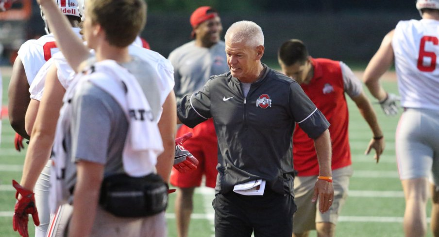 Kerry Coombs was as enthusiastic as ever as Ohio State opened practice on Thursday.