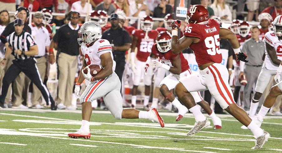J.K. Dobbins racked up 181 rushing yards in his collegiate debut.