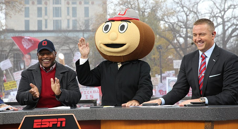 Archie Griffin, Lee Corso and Kirk Herbstreit on the set of College GameDay at Ohio State.
