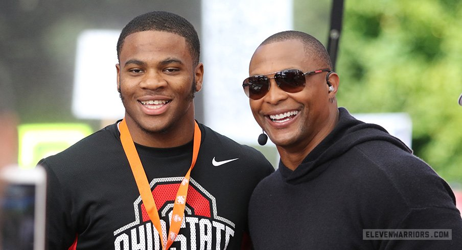Five-star defensive end prospect Micah Parsons on the set of ESPN's College GameDay with Buckeye legend Eddie George.