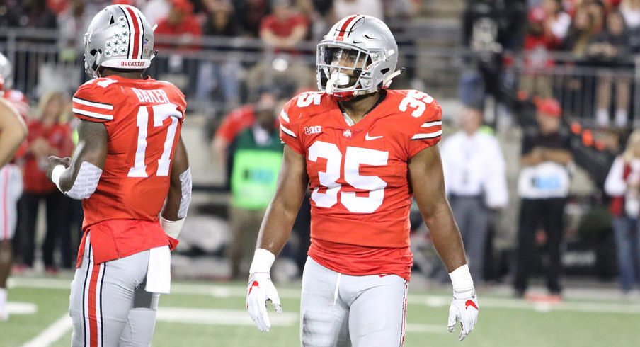 Jerome Baker (17) and Chris Worley (35) were on the field for every Ohio State defensive snap on Saturday.