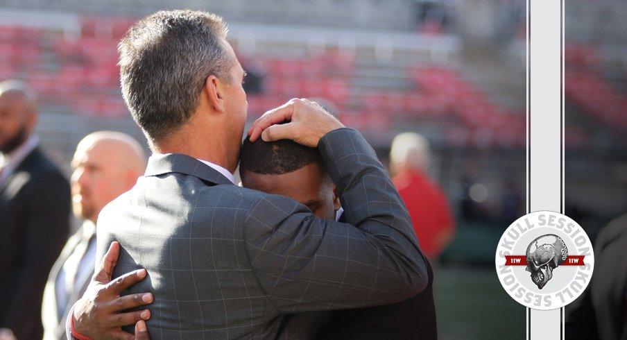 Urban Meyer hugs J.K. Dobbins for the September 14 2017 Skull Session