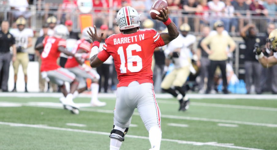 Most of J.T. Barrett's 30 pass attempts against Army were wide receiver screens.