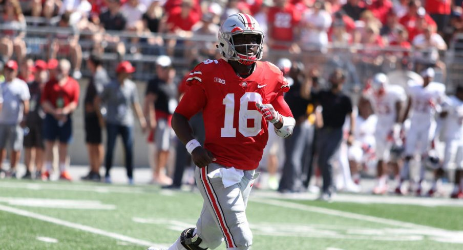 J.T. Barrett had a very strong showing against UNLV, but how did it compare to those of Dwayne Haskins and Joe Burrow?