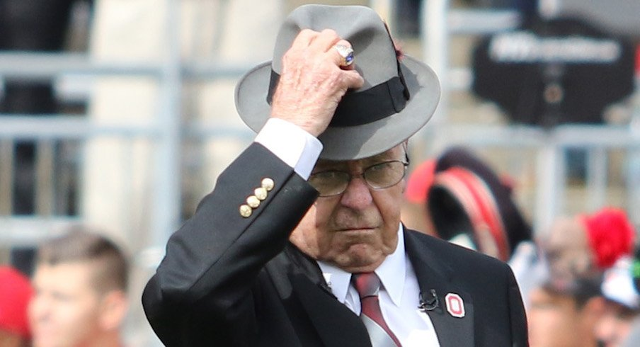 Earle Bruce dotted the 'i' during Script Ohio before Ohio State's game against Rutgers in 2016.