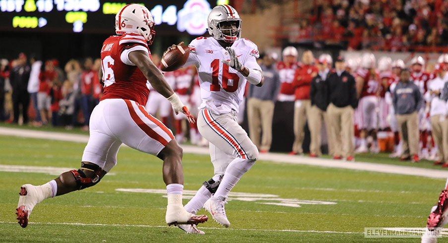 Ohio State quarterback J.T. Barrett passes against the Nebraska Cornhuskers