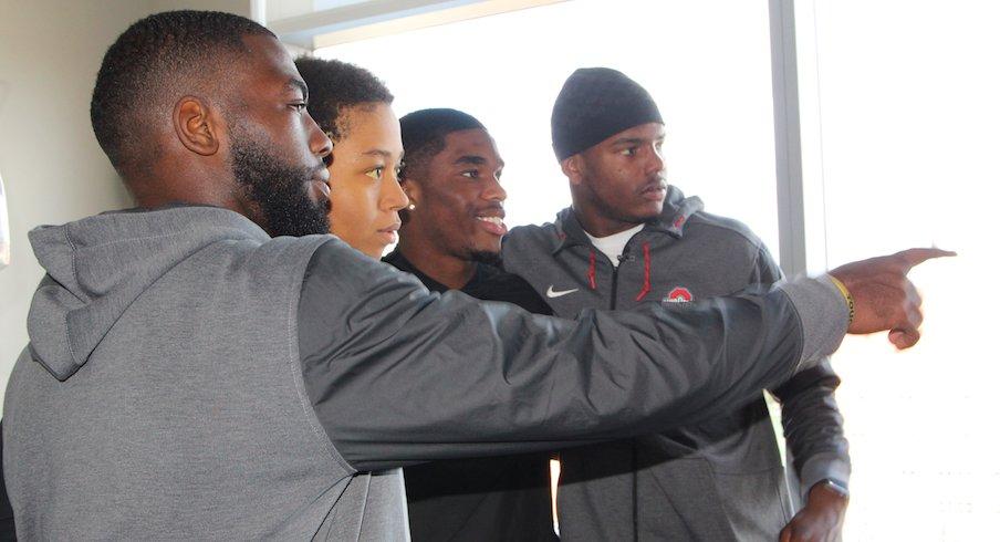 J.T. Barrett, Jeffrey Okudah and Jaylen Harris were among six Ohio State football players who visited the James Cancer Hospital on Monday.