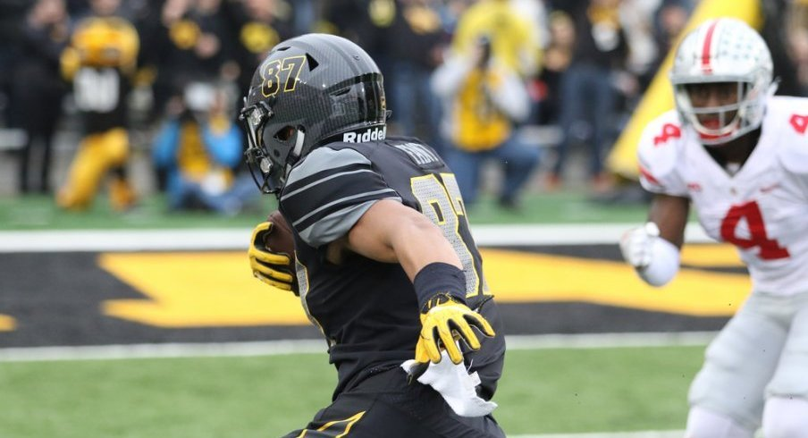 Iowa tight end Noah Fant scorched Ohio State with four receptions for 54 yards and two touchdowns.