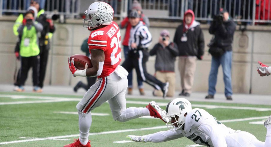 Mike Weber exploded for two long touchdown runs against the Spartans' vaunted rush defense.