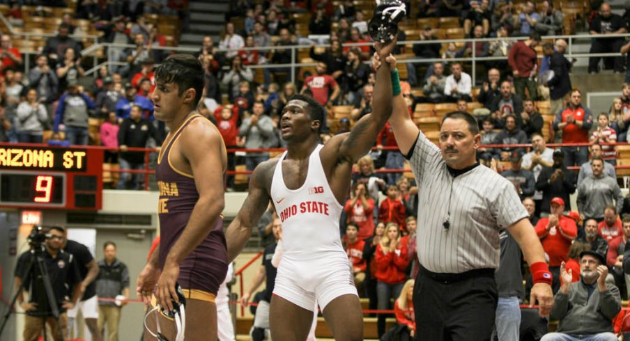 Te'Shan Campbell scored a big win in Sunday's dual.