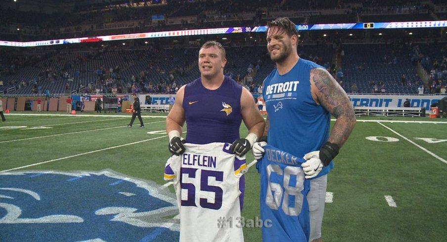 Decker and Elflein swap shirts