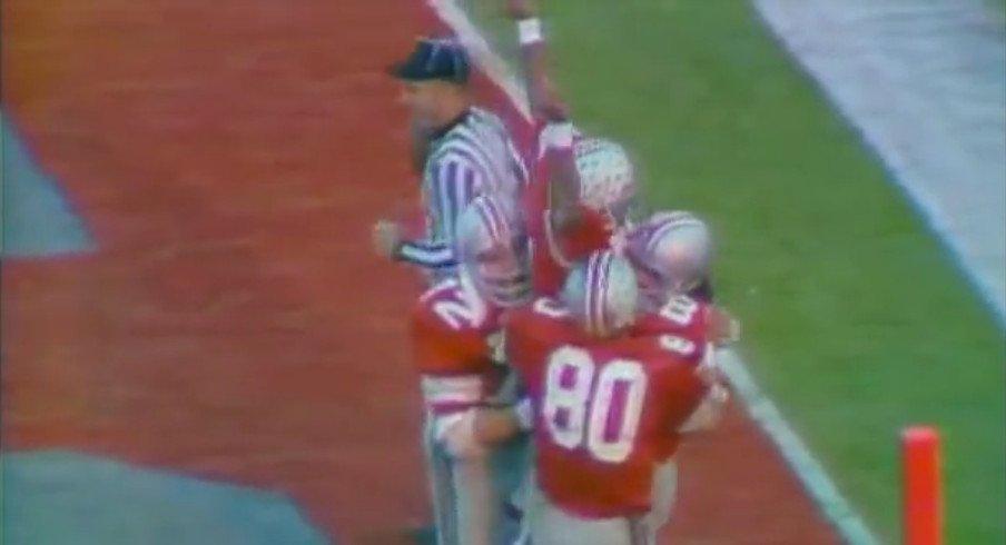 Cornelius Greene celebrates a touchdown in the 1974 Rose Bowl