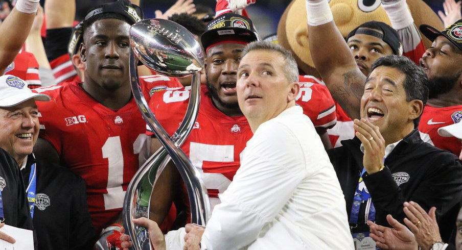 Urban Meyer and the Buckeyes celebrate after the Cotton Bowl.