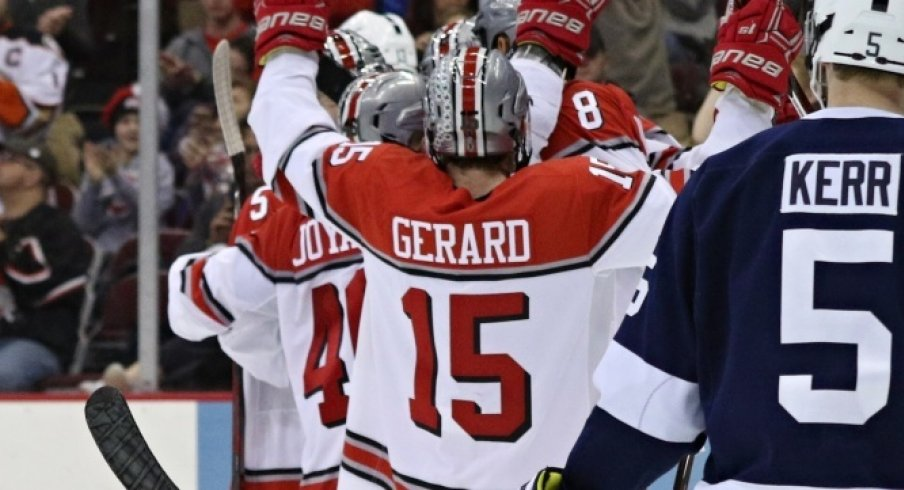 Ohio State's Freddy Gerard celebrates a goal against Penn State.