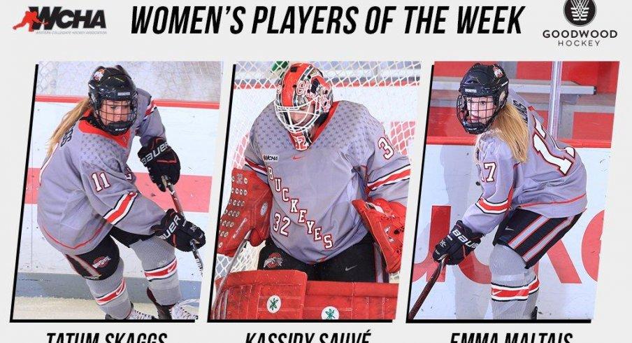 Ohio State's Tatum Skaggs, Kassidy Sauve, and Emma Maltais make it a Buckeye sweep of the weekly WCHA awards.