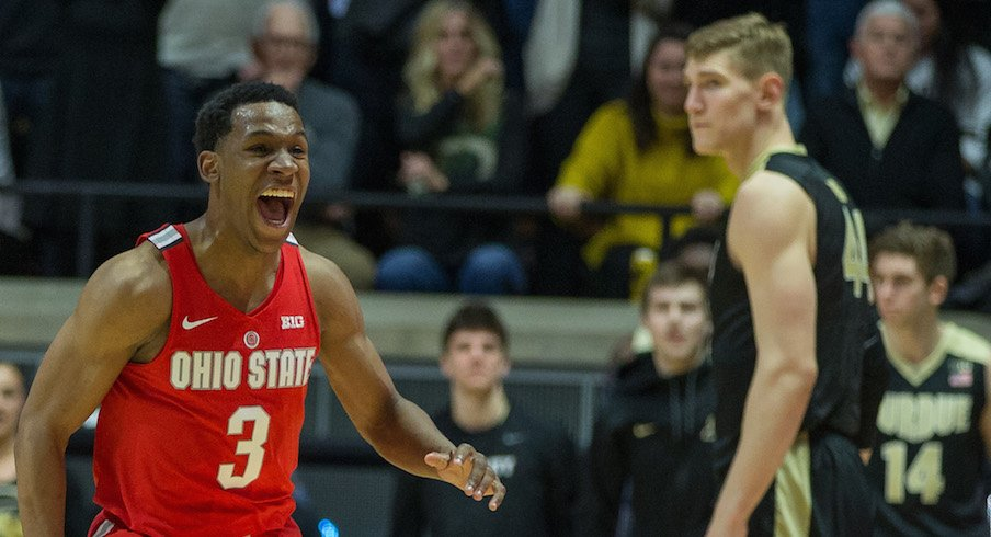 C.J. Jackson celebrates after the Buckeyes' 64-63 win over Purdue.