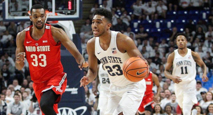 Penn State's Josh Reaves dribbles ahead of Ohio State's Keita Bates-Diop.