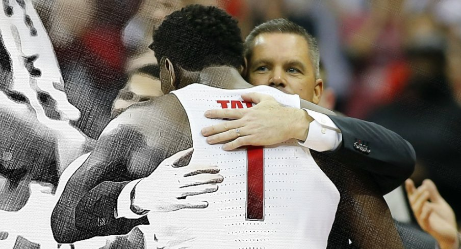 Feb 20, 2018; Columbus, OH, USA; Ohio State Buckeyes forward Jae'Sean Tate (1) gets a congratulatory hug from head coach Chris Holtmann as he leaves the floor for the last time during the second half against the Rutgers Scarlet Knights at Value City Arena. Mandatory Credit: Joe Maiorana-USA TODAY Sports