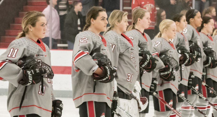 The Ohio State women's hockey Buckeyes get set for an NCAA quarterfinal against the Boston College Eagles.