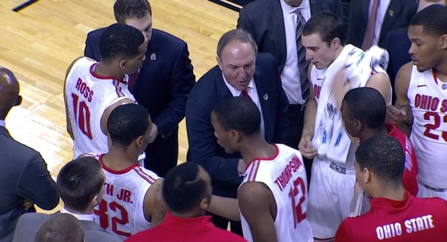 Thad Matta and company against Dayton in the 2014 NCAA Tournament.