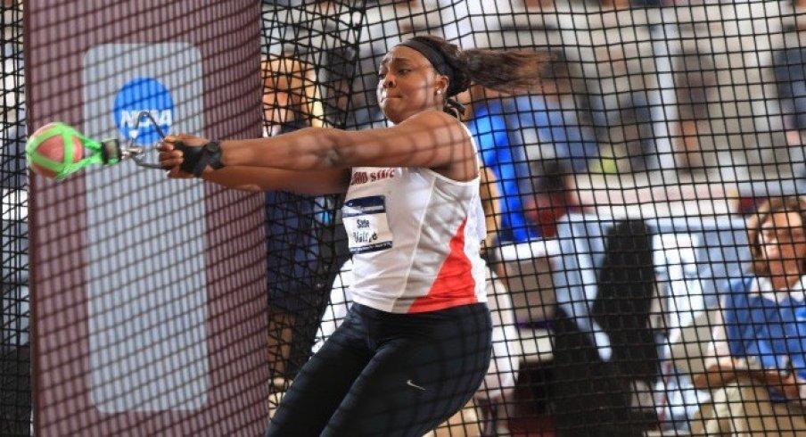 Sade Olatoye throws at NCAA Championships