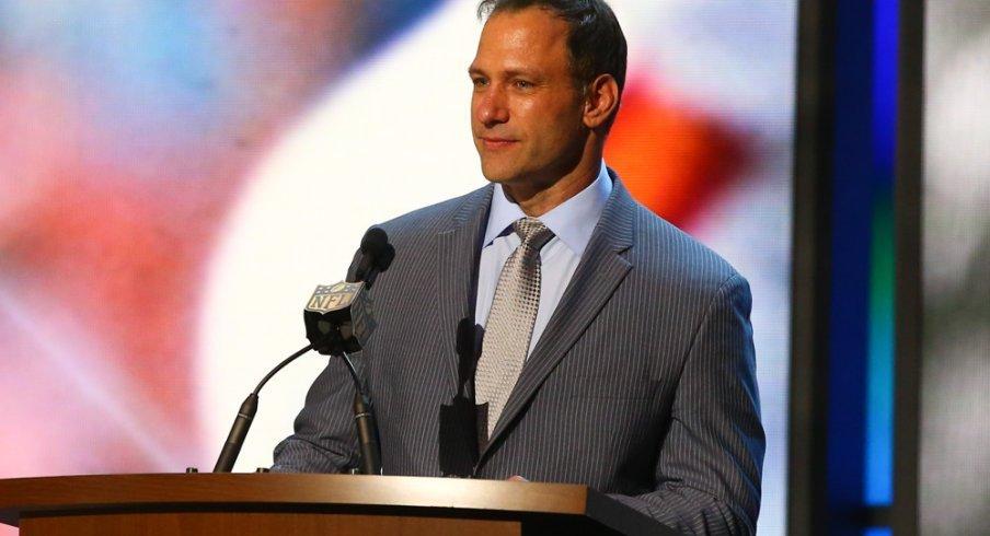 Spielman speaks at an NFL event