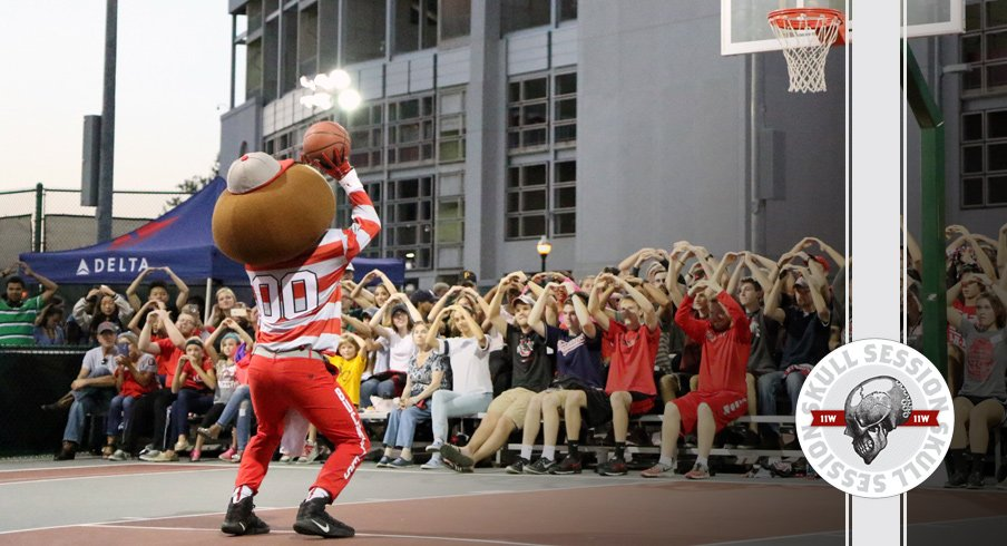 Brutus Buckeye swishes the April 9 2018 Skull Session.