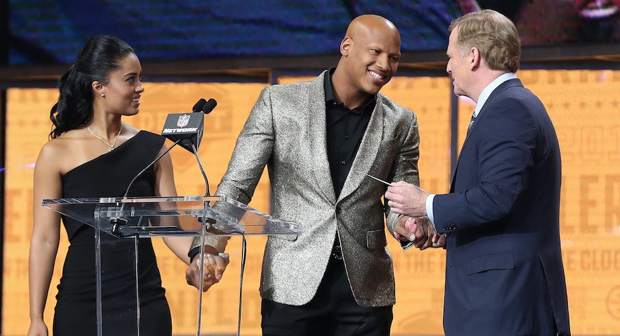 Ryan Shazier, his fiancee Michelle and NFL commissioner Roger Goodell