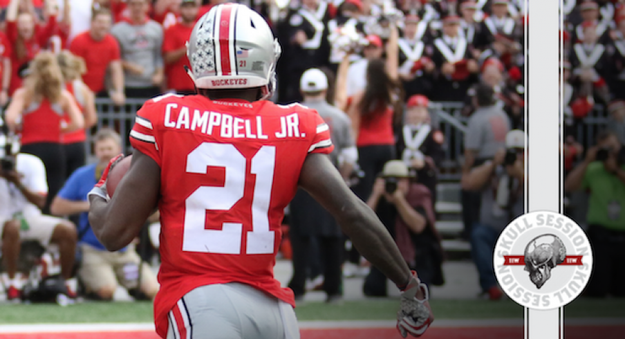 Parris Campbell runs to the end zone.