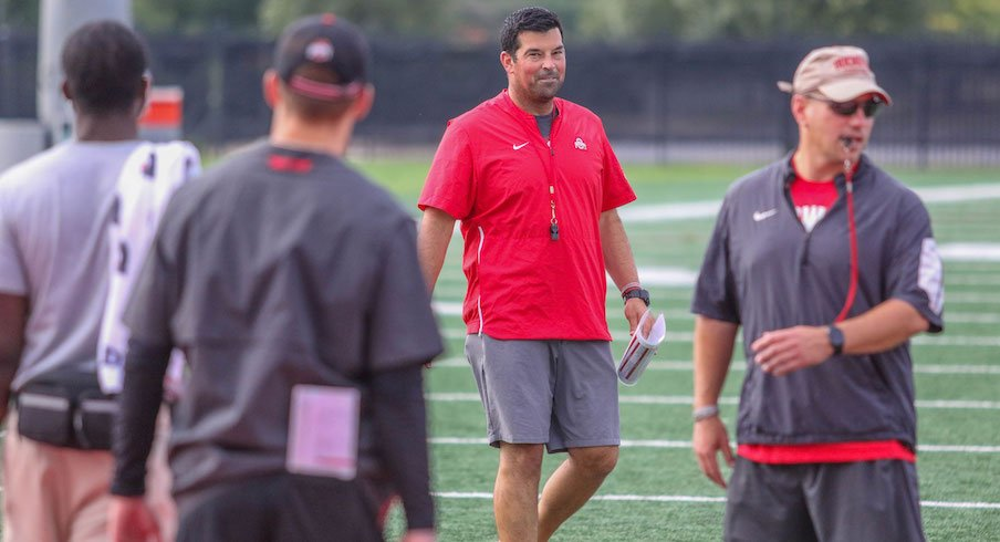 Ryan Day and Mickey Marotti during fall camp.