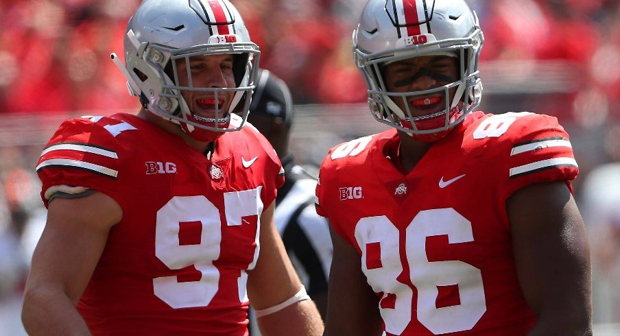 ohio State Buckeyes defensive tackle Dre'Mont Jones (86) celebrates with defensive end Nick Bosa (97) after his sack of Oregon State Beavers quarterback Conor Blount (2) during the second quarter at Ohio Stadium.