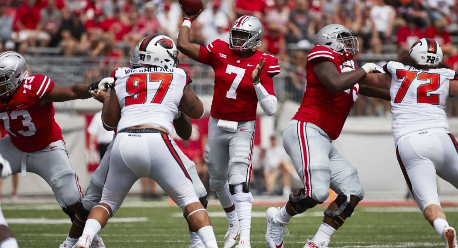 Dwayne Haskins throwing a pass from shotgun against Oregon State